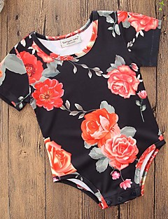 billige Babytøj-Baby Pige En del Fest Daglig Blomstret, Bomuld Polyester Sommer Kort Ærme Simple Afslappet Sort