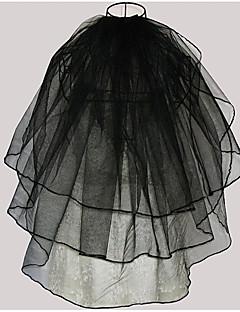 billiga Brudslöjor-Tre lager Modern Stil / Bröllop / Minimalistisk Stil Brudslöjor Armbåge Slöjor med Kant / Tvinning Tyll / Ängelsnitt / Vattenfall
