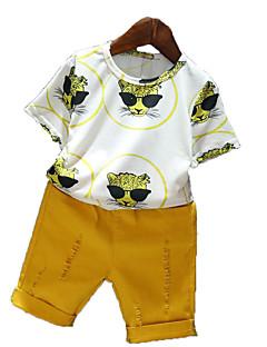 tanie Odzież dla chłopców-Komplet odzieży Bawełna Poliester Dla chłopców Codzienny Urlop Jendolity kolor Nadruk Lato Krótki rękaw Prosty Na co dzień Yellow