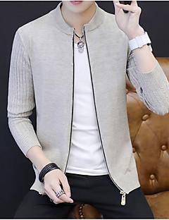 tanie Męskie swetry i swetry rozpinane-Męskie Okrągły dekolt Szczupła Długi Rozpinany Jendolity kolor Długi rękaw