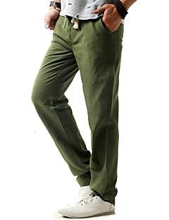 billige Herrebukser og -shorts-Herre Lin Chinos Bukser - Delt, Ensfarget