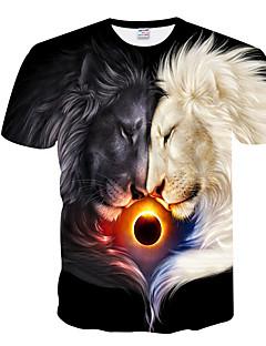 Χαμηλού Κόστους Ανδρικά Τοπ-Ανδρικά T-shirt Βασικό Γεωμετρικό Στρογγυλή Λαιμόκοψη Στάμπα / Κοντομάνικο