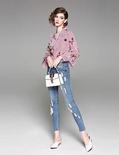 billige Bukser-kvinners normale midterstigning, mikro elastiske skinny jeans bukser street chic solid bomull våren sommer