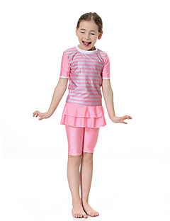 cheap Girls' Swimwear-Girls' Boho Color Block Swimwear, Polyester Nylon Spandex Short Sleeve Blushing Pink Light Blue