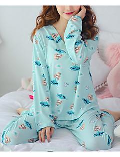 tanie Piżamy-Damskie Dekolt w kształcie litery U Kostiumy Piżama Geometryczny