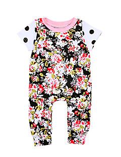 billige Babytøj-Baby Pige En del Daglig I-byen-tøj Ensfarvet Blomstret Jacquard Vævning, Bomuld Forår Sommer Kort Ærme Sødt Aktiv Navyblå