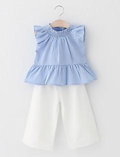 billige Tøjsæt til piger-Pige Tøjsæt Fest Daglig Ensfarvet Blomstret Trykt mønster, Bomuld Akryl Forår Sommer Uden ærmer Simple Sødt Lyseblå