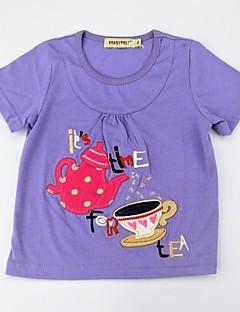billige Pigetoppe-Pige T-shirt Daglig Trykt mønster Farveblok, Bomuld Sommer Kortærmet Sødt Aktiv Lilla Gul