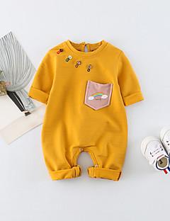 billige Babytøj-Baby Unisex En del Daglig Trykt mønster Regnbue, Bomuld Spandex Forår Sommer Halvlange ærmer Simple Aktiv Lyserød Gul