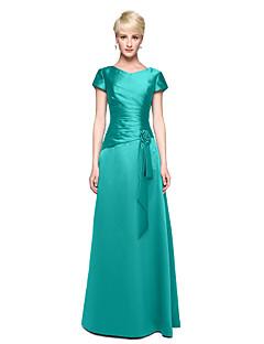 billige Grønn glamour-A-linje V-hals Gulvlang Sateng Brudepikekjole med Blomst / Plissert av LAN TING BRIDE®