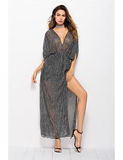 billige Damemode og tøj-Dame Swing Kjole - Ensfarvet, Krøllede Folder Delt