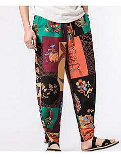 billige Herrebukser og -shorts-menns vanlige midterstige mikro elastiske chinos bukser, vintage blomstret polyester / bomull blanding vår sommer