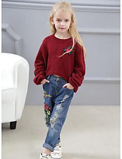 billige Tøjsæt til piger-Pige Tøjsæt Daglig I-byen-tøj Blomstret, Rayon Forår Efterår Langærmet Gade Grå Vin