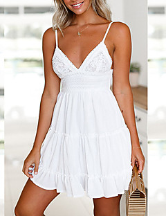baratos Vestidos de Mulher-Mulheres Evasê Vestido - Frente Única Laço, Côr Sólida Com Alças Decote em V Profundo