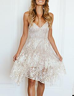 tanie SS 18 Trends-Damskie Plaża Szczupła Pochwa Sukienka swingowa Sukienka - Solid Color, Siateczka Ramiączka Wysoka Talia Asymetryczna