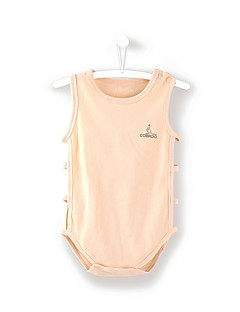 billige Babytøj-Baby Unisex En del Daglig Strand Ensfarvet, Bomuld Sommer Uden ærmer Afslappet Aktiv Blå Grøn Hvid Lyserød Kakifarvet