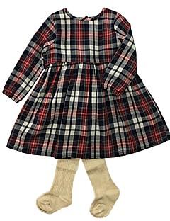 billige Sett med babyklær-Baby Pige Tøjsæt Daglig Stribet, Bomuld Forår Efterår Langærmet Simple Kineseri Beige