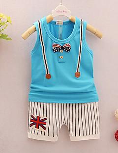 billige Tøjsæt til drenge-Drenge Stribet Trykt mønster Uden ærmer Tøjsæt
