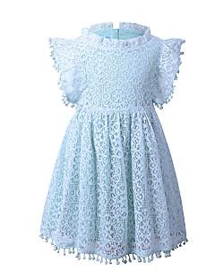 tanie Odzież dla dziewczynek-Sukienka Rayon Dziewczyny Impreza Wyjściowe Jendolity kolor Kwiaty Żakard Wiosna Lato Krótki rękaw Vintage Wyrafinowany styl Niebieski