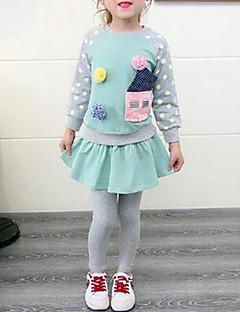 billige Tøjsæt til piger-Pige Tøjsæt Daglig Patchwork, Bomuld Rayon Forår Efterår Simple Aktiv Grøn Lyserød