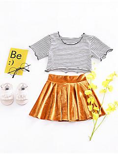 tanie Odzież dla dziewczynek-Dla dziewczynek Codzienny Prążki Komplet odzieży, Poliester Wiosna Lato Krótki rękaw Urocza Gold