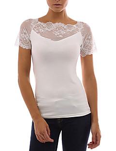 お買い得  レディーストップス-女性用 レース Tシャツ ベーシック ストリートファッション ソリッド