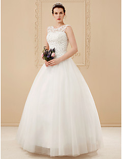 Ball Gown Scoop Neck Floor Length Beaded Lace Made To Measure Wedding Dresses With Beading Appliques By LAN TING BRIDER