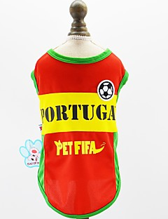 billiga Hundkläder-Hund Katt Husdjur Tröja Hundkläder Färgblock Slogan Broderi Röd Nät Kostym För husdjur Herr Sport och utomhus Euramerikansk