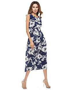 Χαμηλού Κόστους Μακριά Φορέματα-Γυναικεία Κομψό στυλ street Λεπτό Θήκη Φόρεμα - Φλοράλ Μακρύ
