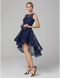 cheap Special Occasion Dresses-A-Line Jewel Neck Asymmetrical Tulle Cocktail Party / Prom Dress with Flower by TS Couture®