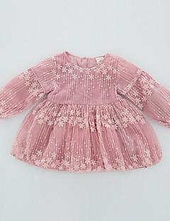 tanie Odzież dla dziewczynek-Sukienka Poliester Spandeks Dziewczyny Jendolity kolor Żakard Wiosna Jesień Długi rękaw Urocza Aktywny White Blushing Pink Jasnoniebieski