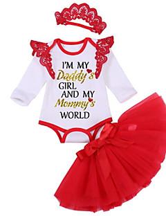 billige Sett med babyklær-Baby Pige Ensfarvet Halvlange ærmer Tøjsæt
