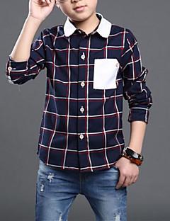 billige Overdele til drenge-drenge daglig plaid skjorte, rayon forår høst lange ærmer afslappet beige