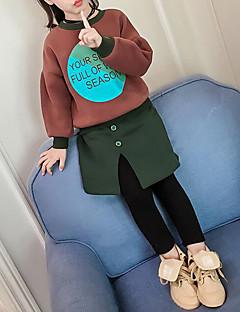 billige Tøjsæt til piger-Pige Tøjsæt Bomuld Polyester Vinter Efterår Langærmet Blomster Grøn