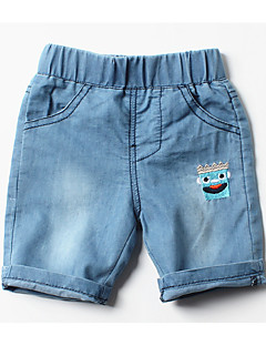 billige Jeans til drenge-Ensfarvet Pigens Daglig Ferie Bomuld Sommer Kjole Basale Blå Lyseblå