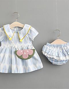 billige Sett med babyklær-Baby Pige Farveblok Kortærmet Bomuld Tøjsæt