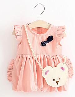billige Babytøj-Baby Pige Trykt mønster Uden ærmer Kjole