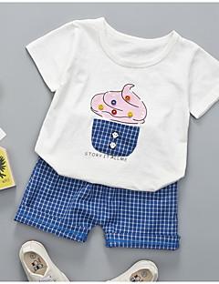 billige Sett med babyklær-Baby Unisex Geometrisk Ternet Kortærmet Tøjsæt