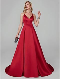 billiga Balklänningar-A-linje Smala axelband Svepsläp Lyocell Formell kväll / Smokinggala Klänning med Bälte / band av TS Couture®