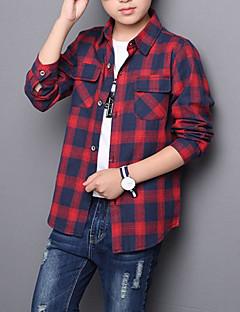 tanie Odzież dla chłopców-Dla chłopców Codzienny Pled Koszula, Bawełna Poliester Wiosna Jesień Długi rękaw Podstawowy Clover Czerwony Gray