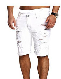 billige Herrebukser og -shorts-Herre Chinoiserie Bomull Skinny Shorts Bukser Ensfarget