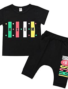 tanie Odzież dla chłopców-Dla chłopców Urlop Geometryczny Komplet odzieży, Poliester Lato Krótki rękaw Podstawowy White Black
