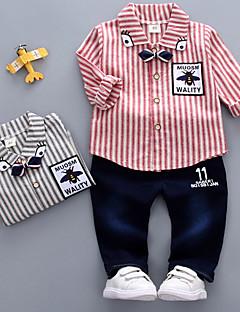 billige Sett med babyklær-Baby Unisex Stribet 3/4-ærmer Tøjsæt