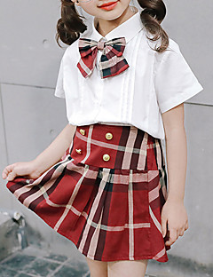 billige Tøjsæt til piger-Pige Tøjsæt Daglig Ensfarvet Houndstooth mønster, Polyester Sommer Halvlange ærmer Sødt Hvid