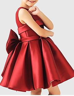 tanie Odzież dla dziewczynek-Sukienka Poliester Dziewczyny Impreza Jendolity kolor Lato Bez rękawów Urocza Clover White Wine