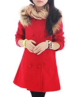 billige Jakker og frakker til piger-Pige dun- og bomuldsforet Daglig Patchwork, Uld Vinter Forår Efterår Langærmet Pænt tøj Rosette Rosa Rød