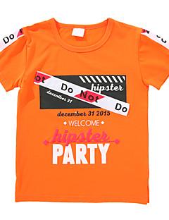 billige Overdele til drenge-Drenge Daglig Trykt mønster T-shirt, Bomuld Forår Sommer Kortærmet Aktiv Grøn Orange Navyblå