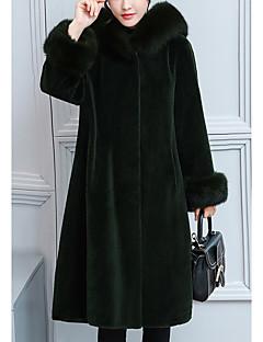 billiga Dampälsar och läder-Enfärgad Fur Coat Dam Fuskpäls / Vinter