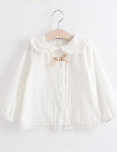 billige Pigetoppe-Pige Daglig Ensfarvet Skjorte, Bomuld Forår Efterår Langærmet Sødt Hvid