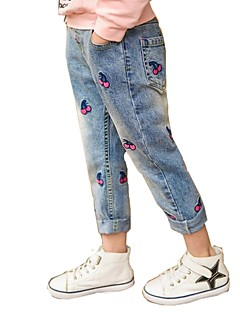 billige Bukser og leggings til piger-Blomstret Pigens Daglig Ferie Bomuld Polyester Forår Sommer Kjole Sødt Aktiv Blå